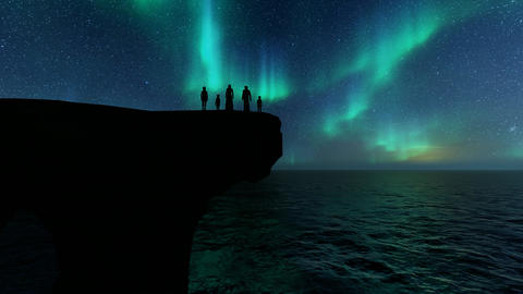 Islamic silhouettes arab family night. Family life background. Northern Lights Live Action