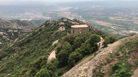Montserrat, Spain, A view of a rocky mountain with Nimrod Fortress in the ライブ動画
