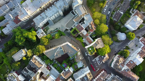 AERIAL: Top Down Overhead View of Paris Streets in Summer Live Action
