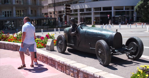 Bronze statue of the first winner of grand prix of Monaco Live Action