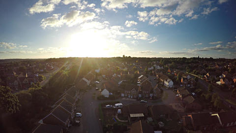 Aerial Sunset Over the England Neighborhood Live Action