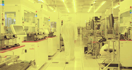 Silicon wafer production process, in a semiconductors manufacturing facility Footage
