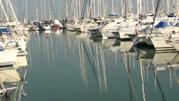 Boats moored in harbor Footage