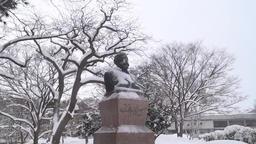 Clark Statue, Hokkaido University, Hokkaido Prefecture, Japan Footage