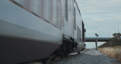 Train travelling on the tracks at high speed Footage