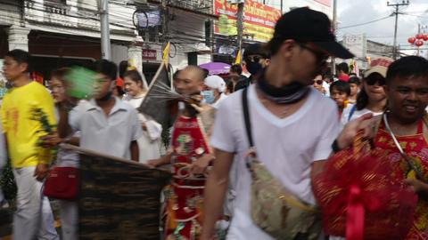 Phuket Taoist vegetarian festival of the 9 Gods Footage