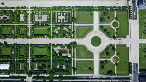 AERIAL: Top Down Overhead View of Paris Tuileries Garden in Summer with rich Live Action