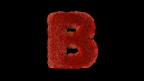 Fluffy hair fur text typography with alpha channel B Animation