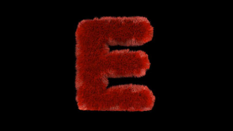 Fluffy hair fur text typography with alpha channel E Animation