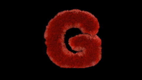Fluffy hair fur text typography with alpha channel G Animation