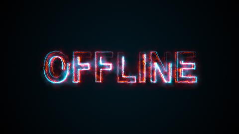 The word Offline on a screen on the Internet. Burning inscription. 3d rendering Photo