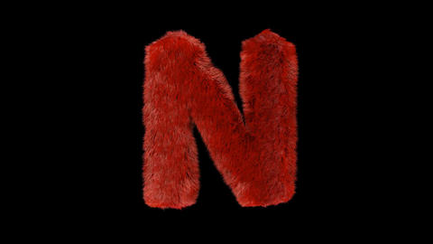 Fluffy hair fur text typography with alpha channel N Animation