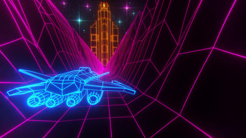 3D Retro Synthwave Spaceship VJ Loop Motion Background Animation