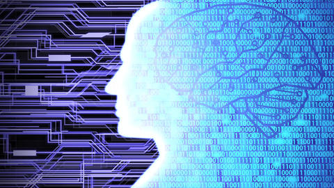Futuristic AI/Human Head Silhouette with Digital Brain Computing and Learning Circuit Board and Animation