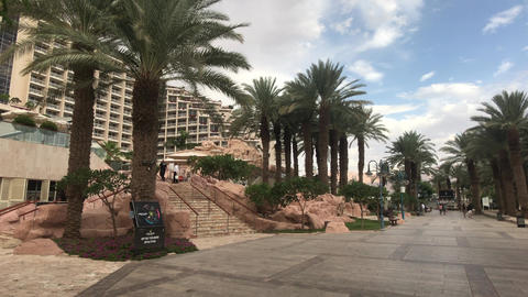 Eilat, Israel - October 24, 2019: tourists walk around the sites of the tourist Live Action