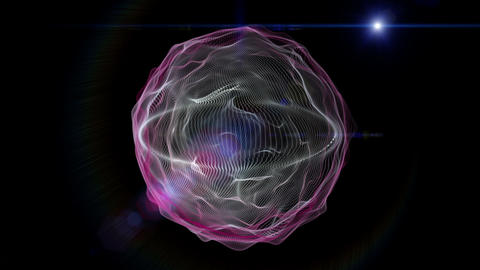 Futuristic video animation with moving wave object and lights, loop HD Animation
