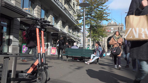Daily life at Bahnhofstrasse in Zurich Live Action