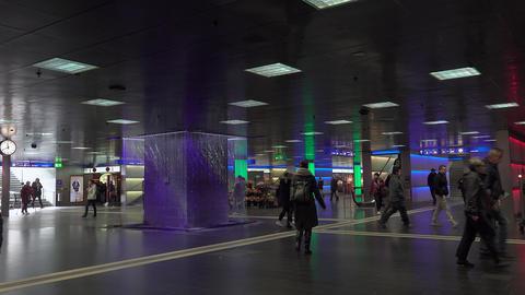 Colorful illuminated the underground passage Live Action