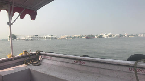 Udaipur, India - Walk on the lake Pichola on a small boat part 10 Live Action