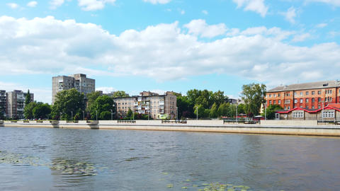 Panorama from city river embankment in Kaliningrad, Russia Live Action