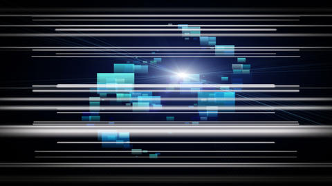 Futuristic video animation with stripe object and light in motion, loop HD Animation