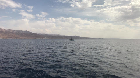 Eilat, Israel - Walk on the sea on a tourist ship before the rain part 14 Live Action