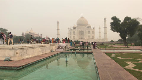 Agra, India, November 10, 2019, Taj Mahal, tourists are photographed against the Live Action