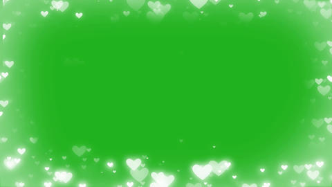 Shining hearts frame motion graphics with green screen background Animation