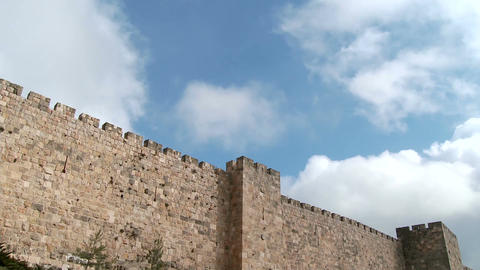 Clouds time lapse over the walls of old city Jerusalem Footage