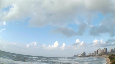 Clouds time lapse over the Tel Aviv coastline Footage