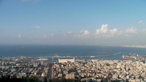 Clouds time lapse over the Haifa port in Israel Footage