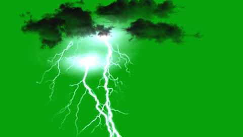 Dark clouds and lighting bolt motion graphics with green screen background Videos animados