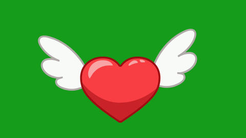 Flying winged heartwith green screen background Animation