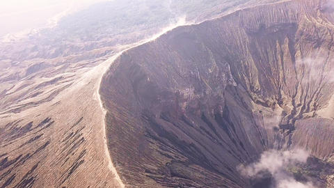 Flying Over an Active Volcano. Aerial View Live Action