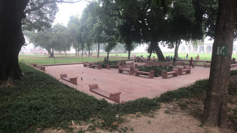 New Delhi, India, November 11, 2019, tourists walk on the site with chipmunks Live Action