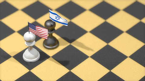 Chess Pawn with country flag, United States, Israel Animation