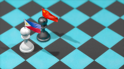 Chess Pawn with country flag, Philippine, China Animation