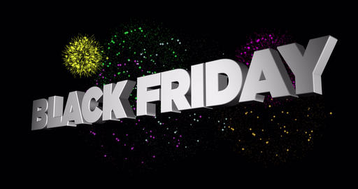 3D animation of flying text Black Friday with colourful fireworks Animation