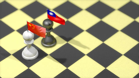 Chess Pawn with country flag, China, Taiwan Animation