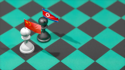 Chess Pawn with country flag, China, North Korea Animation