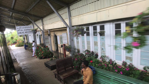 Ella, Sri Lanka, November 22, 2019, a small train station with tourists Live Action