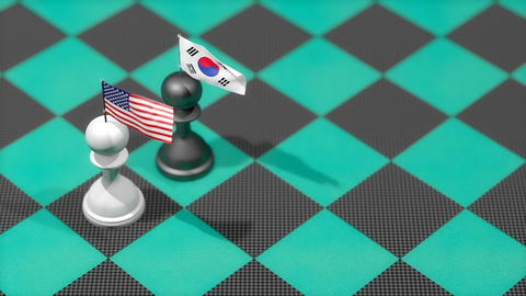Chess Pawn with country flag, United States, South Korea Animation