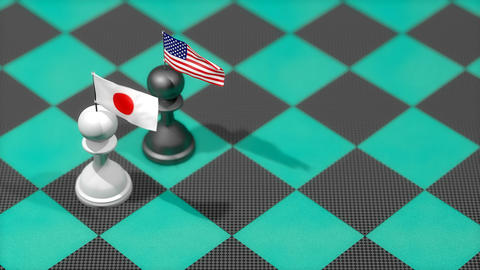 Chess Pawn with country flag, United States, Japan Animation