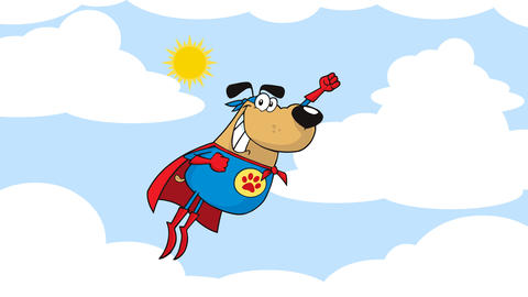 Super Hero Dog Cartoon Character Flying In Sky Animation