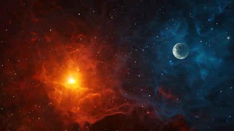 Space background. Fly through colorful nebula with planet. Elements furnished by NASA. 3D rendering Videos animados