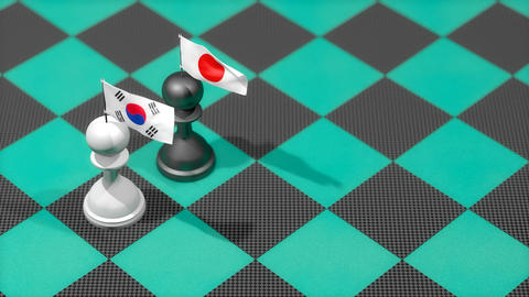 Chess Pawn with country flag, South Korea, Japan Animation