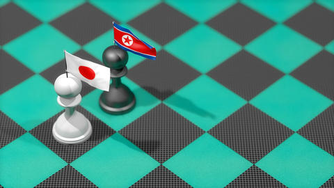 Chess Pawn with country flag, Japan, Noth Korea Animation