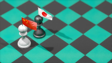 Chess Pawn with country flag, China, Japan Animation