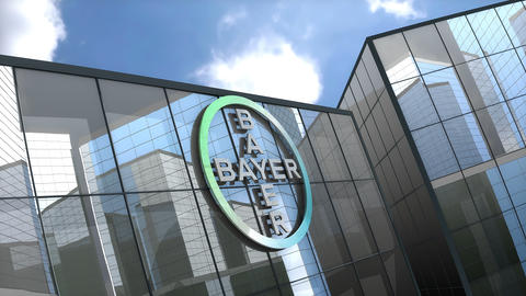 March 2019, Editorial use only, 3D animation, Bayer AG logo on glass building Animation