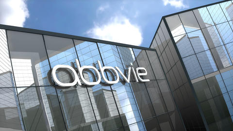March 2019, Editorial use only, 3D animation, AbbVie logo on glass building Animation